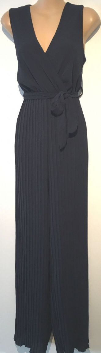 WAL G NAVY BLUE CREPE PLEATED JUMPSUIT BNWT SIZE UK 12